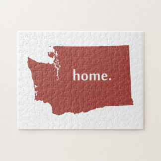Mapa casero del estado de la silueta de Washington Rompecabeza Con Fotos