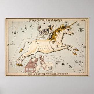 Mapa celestial del vintage impresiones