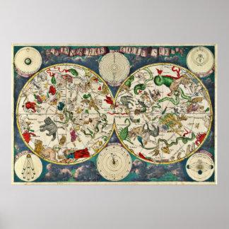 Mapa celestial Frederick De Wit del cœleste de Pla Póster
