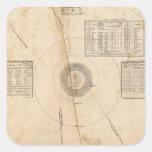 Mapa celestial pegatina cuadrada