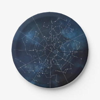 Mapa celestial plato de papel de 7 pulgadas