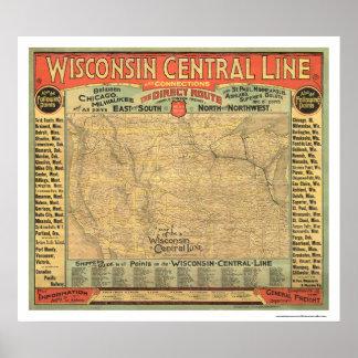 Mapa central 1882 del ferrocarril de Wisconsin Póster
