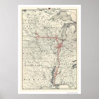 Mapa central 1892 del ferrocarril de Illinois Impresiones