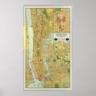 Mapa central 1918 del ferrocarril de Nueva York Impresiones