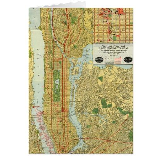 Mapa central 1918 del ferrocarril de Nueva York Tarjetas