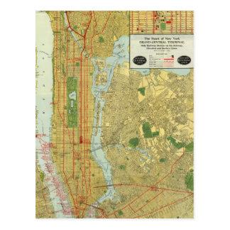 Mapa central 1918 del ferrocarril de Nueva York Tarjetas Postales