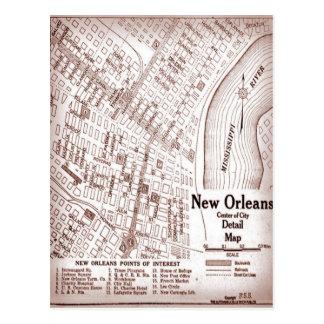 Mapa céntrico 1920 de New Orleans del vintage Tarjetas Postales