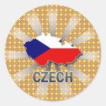 Mapa checo 2,0 de la bandera etiqueta redonda