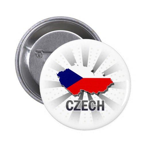Mapa checo 2,0 de la bandera pin redondo de 2 pulgadas