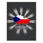 Mapa checo 2,0 de la bandera tarjeta postal