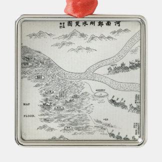 Mapa chino de la gran inundación adorno para reyes