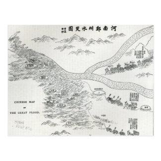 Mapa chino de la gran inundación postales