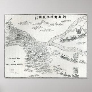 Mapa chino de la gran inundación póster