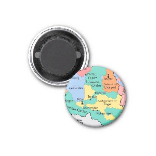 Mapa circa 1260 imán redondo 3 cm