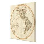 Mapa circular del hemisferio occidental impresión en lienzo