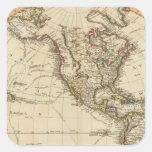 Mapa circular del hemisferio occidental pegatina cuadrada