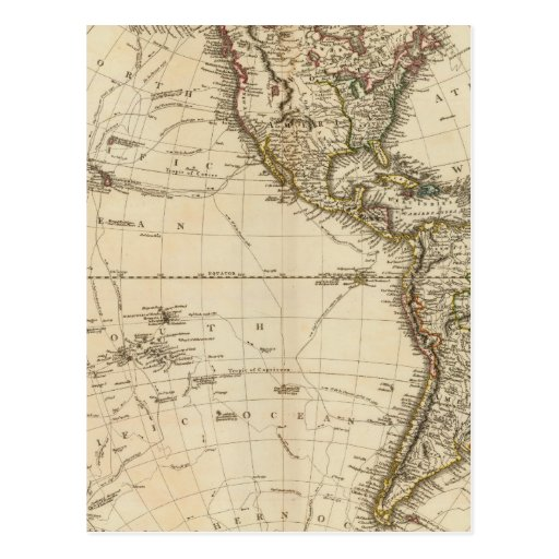 Mapa circular del hemisferio occidental postal