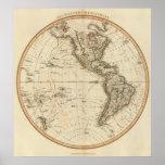 Mapa circular del hemisferio occidental póster