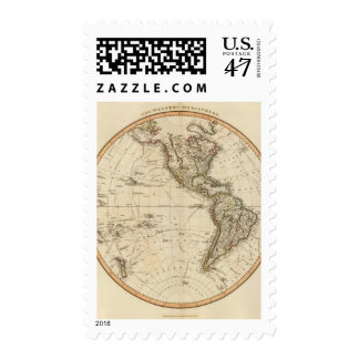 Mapa circular del hemisferio occidental sello