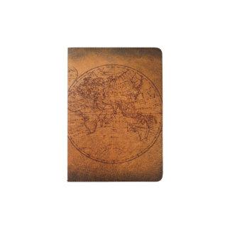 Mapa clásico del viaje del Viejo Mundo del vintage Porta Pasaporte