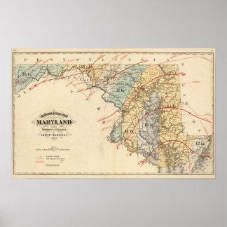 Mapa climatológico del estado de Maryland Póster