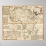 Mapa coloreado de la mano compuesta de África Poster