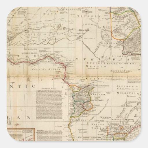 Mapa coloreado de la mano compuesta de África Pegatina Cuadradas Personalizada