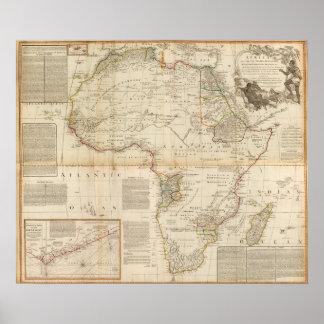 Mapa coloreado de la mano compuesta de África Póster