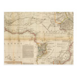 Mapa coloreado de la mano compuesta de África Postales