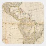 Mapa coloreado de la mano compuesta de América Calcomania Cuadradas Personalizadas