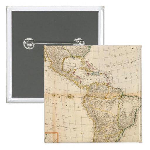 Mapa coloreado de la mano compuesta de América Pin
