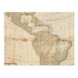 Mapa coloreado de la mano compuesta de América Tarjetas Postales