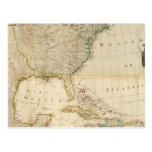 Mapa coloreado de la mano compuesta de Norteaméric Tarjetas Postales