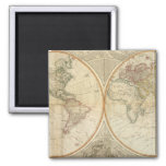 Mapa coloreado de la mano compuesta del mundo imanes de nevera