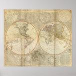 Mapa coloreado de la mano compuesta del mundo poster