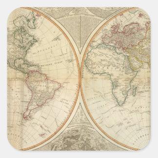 Mapa coloreado de la mano compuesta del mundo pegatina cuadrada