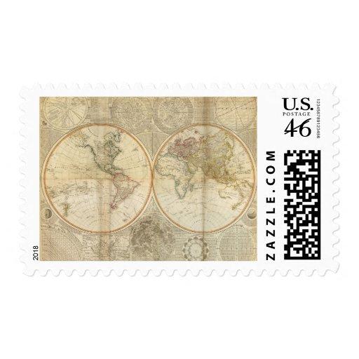 Mapa coloreado de la mano compuesta del mundo sello