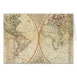 Mapa coloreado de la mano compuesta del mundo felicitación