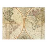 Mapa coloreado de la mano compuesta del mundo postal