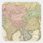 Mapa coloreado de la mano de Asia Calcomanía Cuadradas