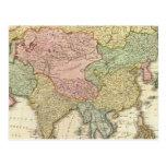 Mapa coloreado de la mano de Asia Postal
