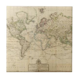 Mapa coloreado de la mano del mundo azulejo cuadrado pequeño