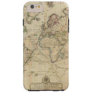 Mapa coloreado de la mano del mundo funda para iPhone 6 plus tough