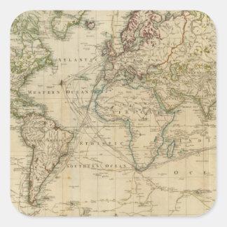 Mapa coloreado de la mano del mundo colcomania cuadrada