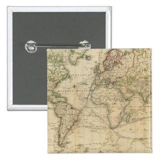 Mapa coloreado de la mano del mundo pin cuadrada 5 cm