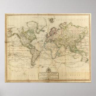 Mapa coloreado de la mano del mundo póster
