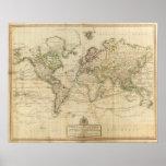 Mapa coloreado de la mano del mundo posters