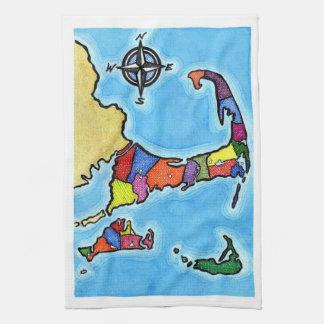 Mapa colorido de Cape Cod Toallas De Cocina