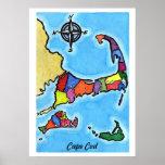 Mapa colorido de Cape Cod Póster