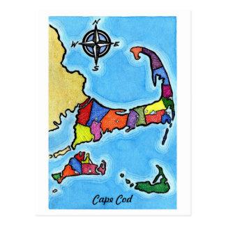 Mapa colorido de Cape Cod Tarjetas Postales